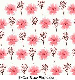 pink flower foliage decorative seamless pattern