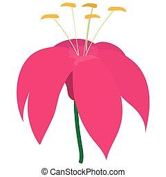 Pink flower icon, cartoon style