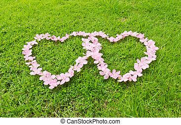 Pink flower love heart
