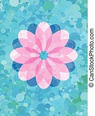 Pink flower on fresh blue dot pattern