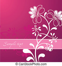 beautiful white flower ornament on pink background