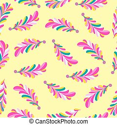 pink flower petals abstract vector seamless pattern on a yellow background