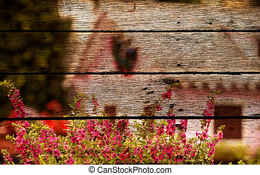 pink flower photo painting on old wooden panel