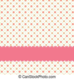 Pink flower polka dot seamless pattern with pink ribbon