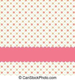 Pink flower polka dot seamless pattern with pink ribbon