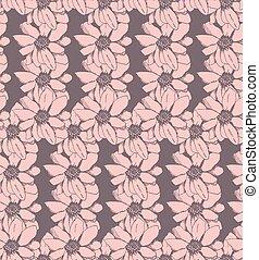 pink flower, vector seamless pattern