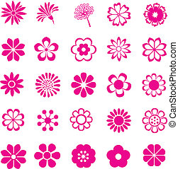 pink flower vector set, flowers icon
