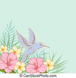 Pink flowers and flying bird