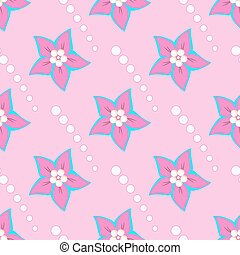 Pink flowers and white shapes circles on a pink background