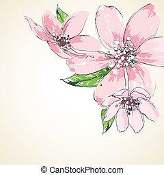 Pink flowers background, corner decoration