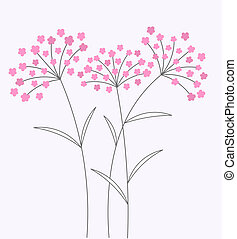 Pink flowers card - Pink flowers on long stems. Vector...