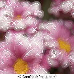 Pink flowers glowing background
