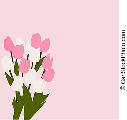 Pink flowers, illustration, vector on white background.