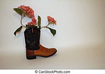Pink Flowers in a Boot