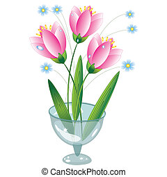 Pink flowers in the glass vase