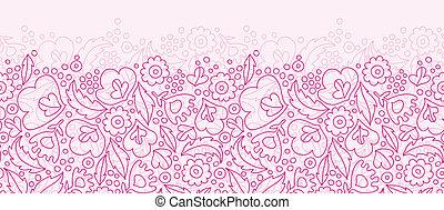 Pink flowers lineart horizontal seamless pattern background