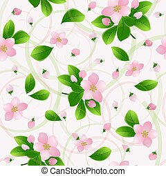 Pink flowers of cherry or apple with green leaves on a light background. natural seamless pattern. Spring pattern.Vector illustration.EPS10.
