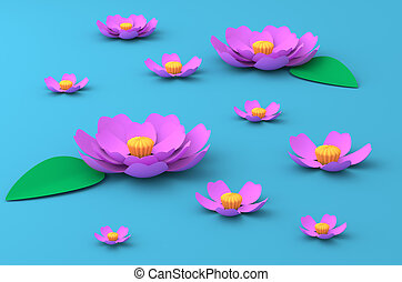 Pink flowers of lotus on the lake paper craft art 3D illustration