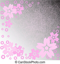 pink flowers on a gray background