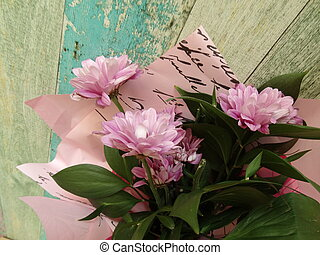 Pink Flowers on a Vintage Background