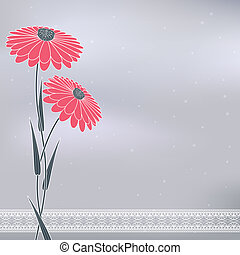 pink flowers on gray - vintage pink flowers on abstract gray...