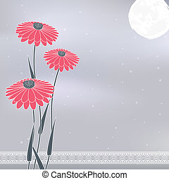 pink flowers on gray - vintage pink flowers under the moon...