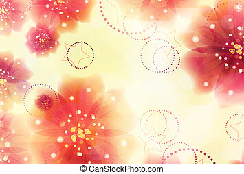 Pink flowers on yellow background