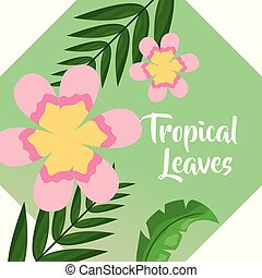 pink flowers palm leaf banner tropical leaves