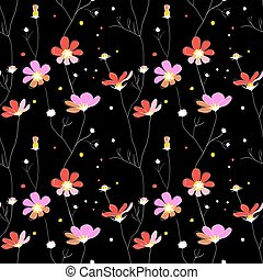 Pink flowers seamless pattern on black background