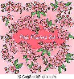 Pink Flowers Vector Set