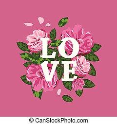 Pink flowers, white love message Happy valentine's day