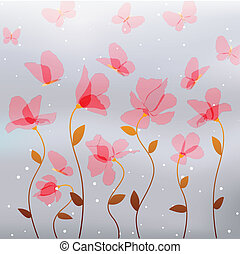 pink flowers with butterfly - transparency pink flowers with...