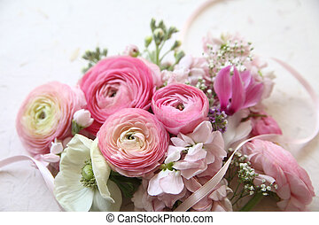 pink flowers with ribbon