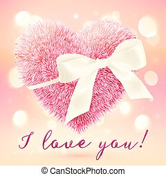 Pink fluffy heart with white bow, greeting card