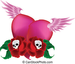 Pink Flying Heart With Rose Skulls