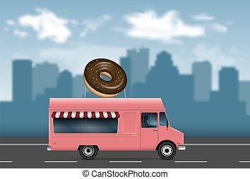Pink food truck vector illustration