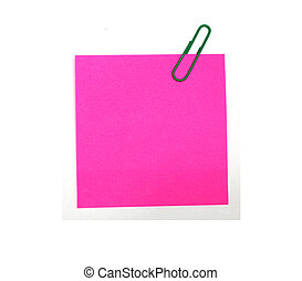 pink form with a clip on a white background
