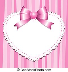pink frame with white heart and bow
