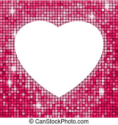 Pink frame in the shape of heart. EPS 8