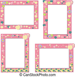 Pink frame with hearts and flowers