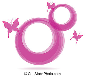 pink frames and butterfly - abstract pink circle frames with...