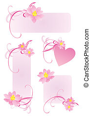 pink frames with flowers and curves set
