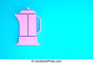 Pink French press icon isolated on blue background. Minimalism concept. 3d illustration 3D render