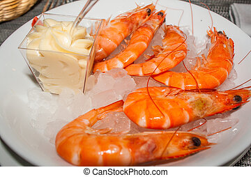 pink fresh prawns with mayonnaise and ice