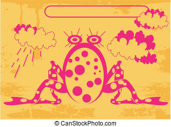 pink frog and clouds with rain
