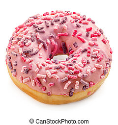 Pink frosted donut with colorful sprinkles isolated on white background. Strawberry Donut Top view