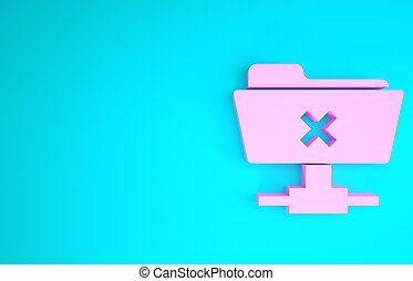 Pink FTP cancel operation icon isolated on blue background. Software update, transfer protocol, router, teamwork tool management, copy process. Minimalism concept. 3d illustration 3D render