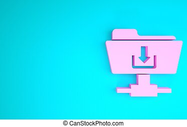 Pink FTP folder download icon isolated on blue background. Software update, transfer protocol, router, teamwork tool management, copy process. Minimalism concept. 3d illustration 3D render