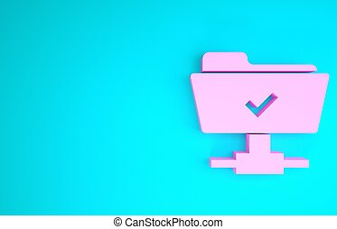 Pink FTP operation successful icon isolated on blue background. Software update, transfer protocol, teamwork tool management, copy process. Minimalism concept. 3d illustration 3D render