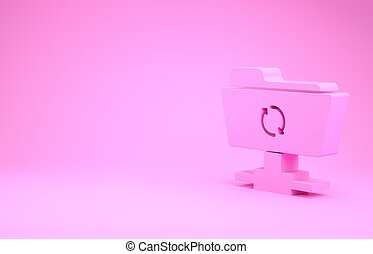 Pink FTP sync refresh icon isolated on pink background. Software update, transfer protocol, router, teamwork tool management, copy process. Minimalism concept. 3d illustration 3D render